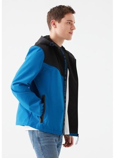 Mavi Kapüşonlu Blok Renkli Ceket Mavi
